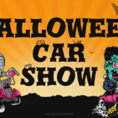 Spooky Auto Monsters Car Show 18 x 12 inch Yard Sign Version C