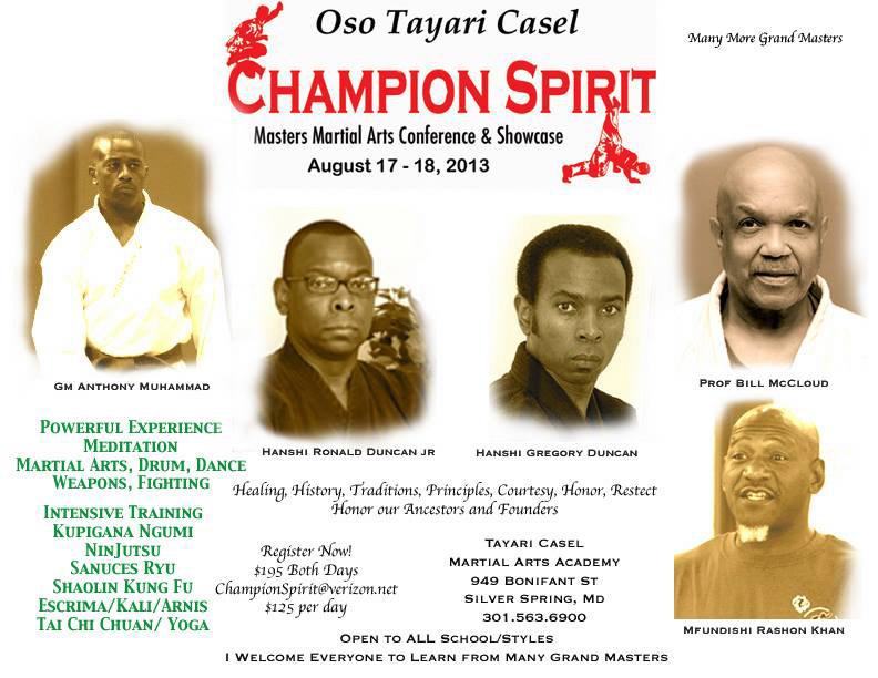 Oso Tayari Casel Champion Spirit Masters Martial Arts Conference